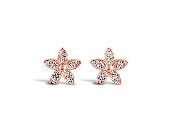 925 Silver Lily Flower Earrings Rose Gold Plated - Mosaic Jewels