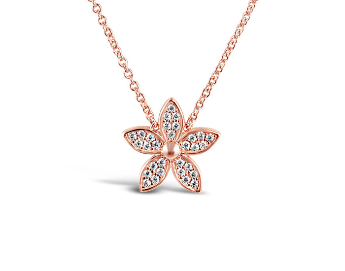 925 Silver Lily Flower Necklace Rose Gold Plated - Mosaic Jewels