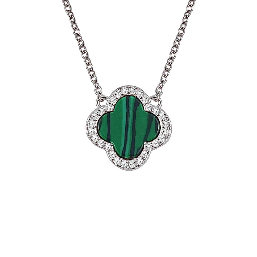 Sterling Silver Malachite Clover Pendant - Mosaic Jewels