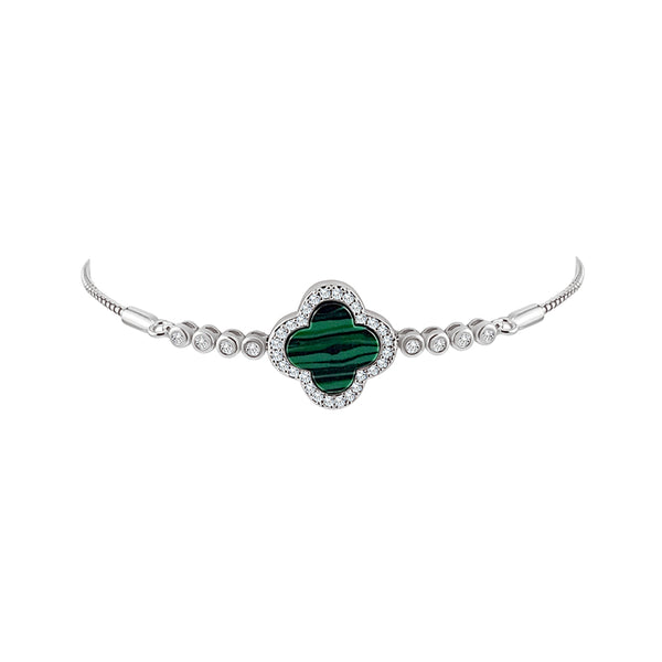 Sterling Silver Malachite Clover Bracelet - Mosaic Jewels