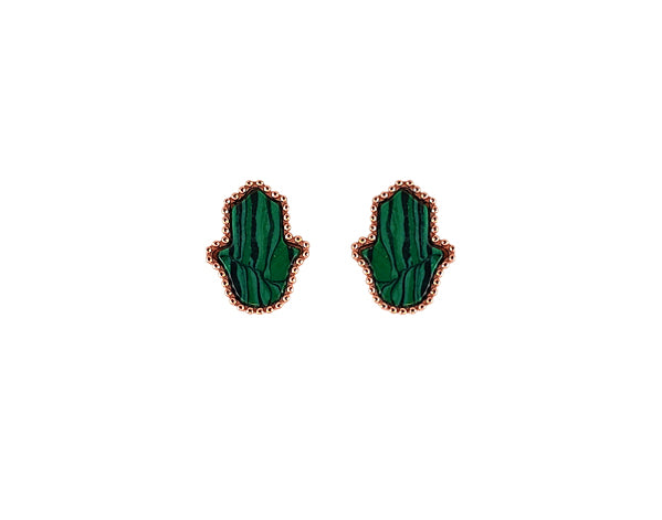 Sterling Silver Malachite Hamsa Earring - Mosaic Jewels