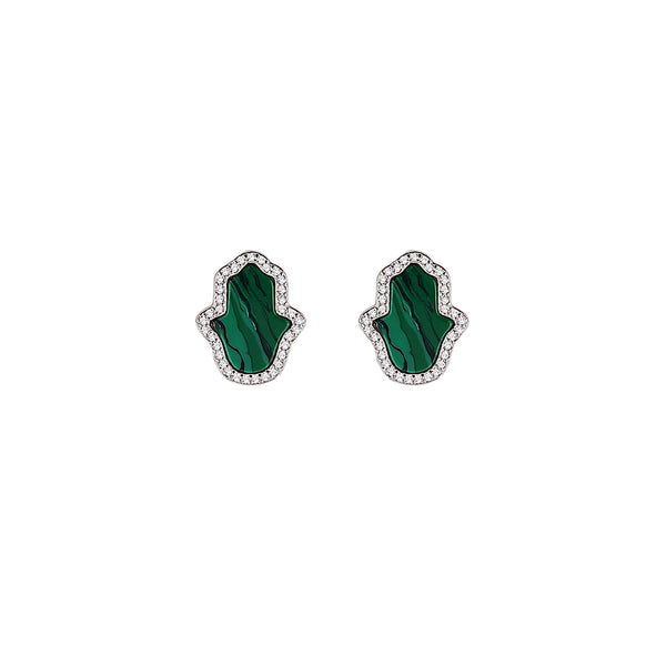 Sterling Silver Malachite Hamsa Earrings - Mosaic Jewels