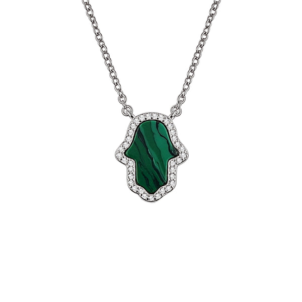 Sterling Silver Malachite Hamsa Necklace - Mosaic Jewels