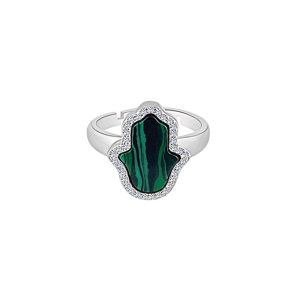 Sterling Silver Malachite Hamsa Ring - Mosaic Jewels