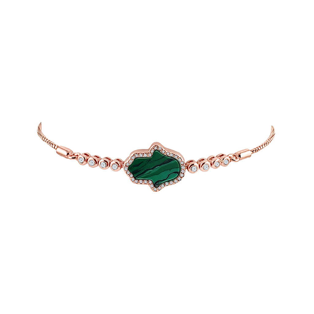 Sterling Silver Malachite Hamsa Bracelet - Mosaic Jewels