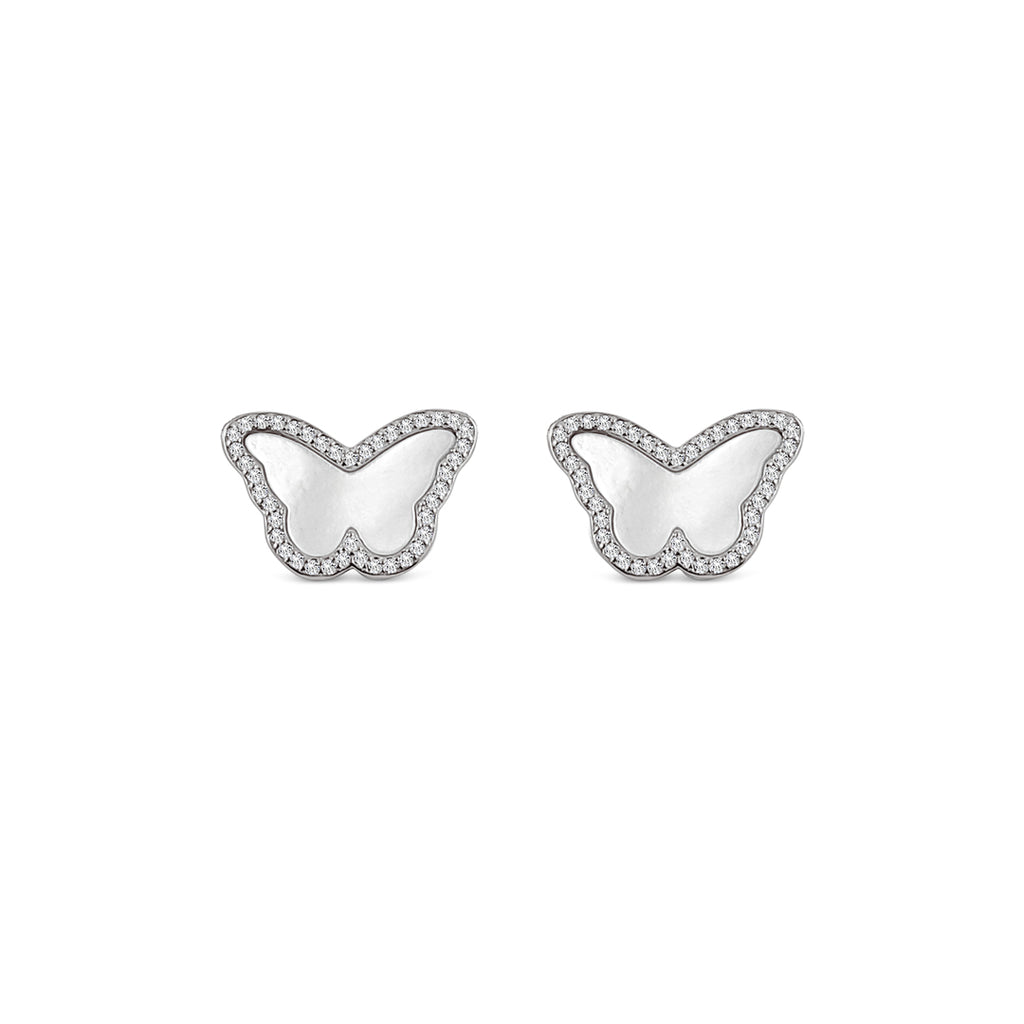 Sterling Silver Mother of Pearl Butterfly Earrings - Mosaic Jewels