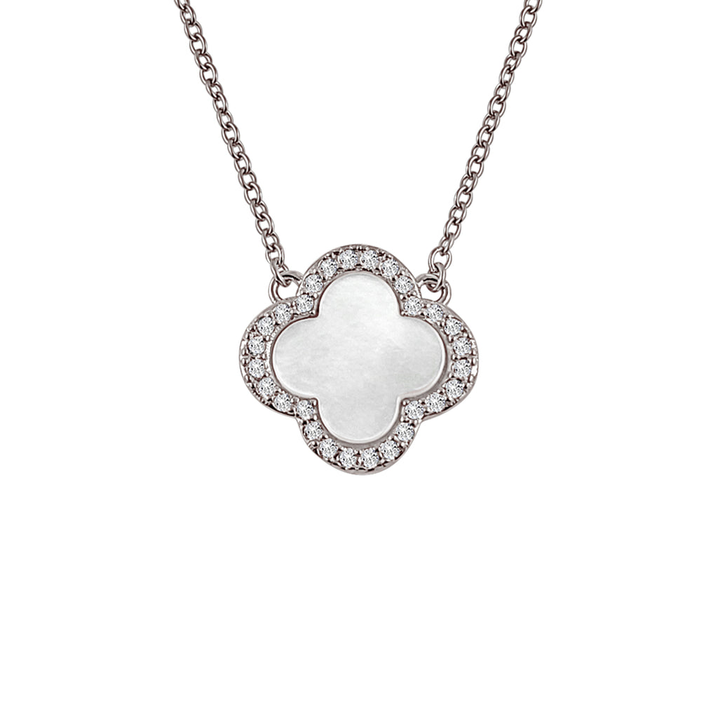 Sterling Silver Mother of Pearl Clover Necklace - Mosaic Jewels
