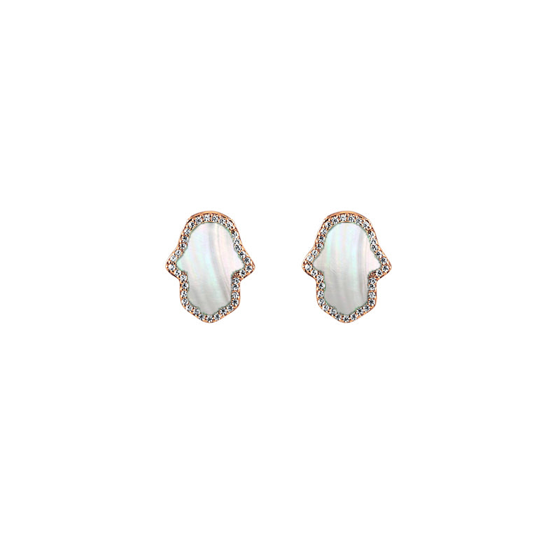 Sterling Silver Mother of Pearl Hamsa Earrings - Mosaic Jewels