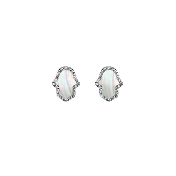 Sterling Silver Mother of Pearl Hamsa Earrings