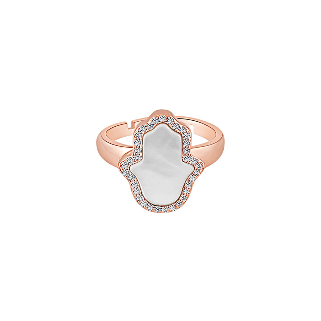 Sterling Silver Mother of Pearl Hamsa Ring - Mosaic Jewels
