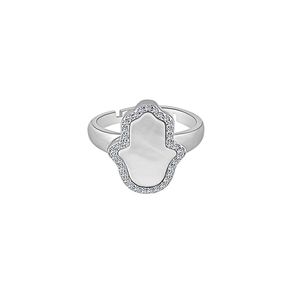 Sterling Silver Mother of Pearl Hamsa Ring