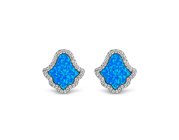 Sterling Silber Opal Blue Hamsa (Zara Collection) Ohrringe - Mosaik Juwelen