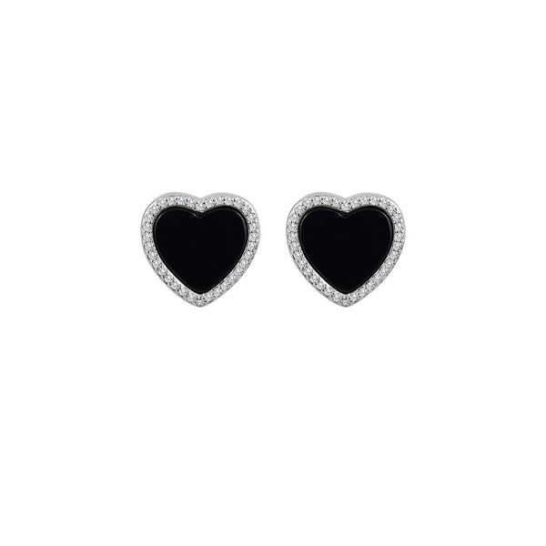 Sterling Silver Onyx Heart Earrings - Mosaic Jewels