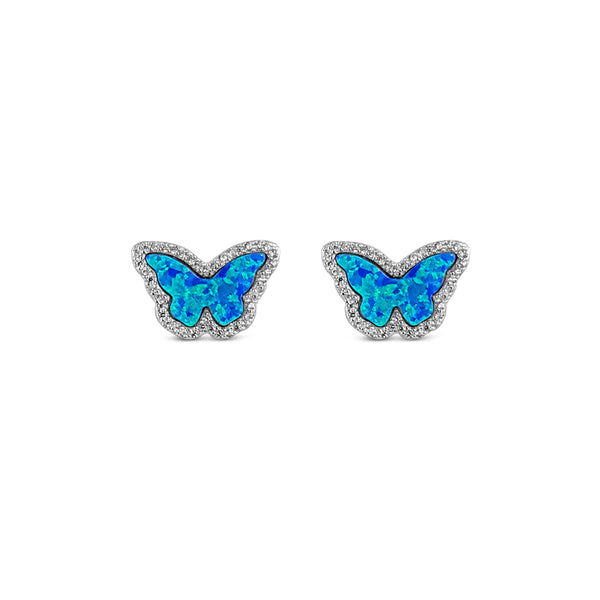 Sterling Silver Opal Blue Butterfly Earrings Rhodium Plated - Mosaic Jewels