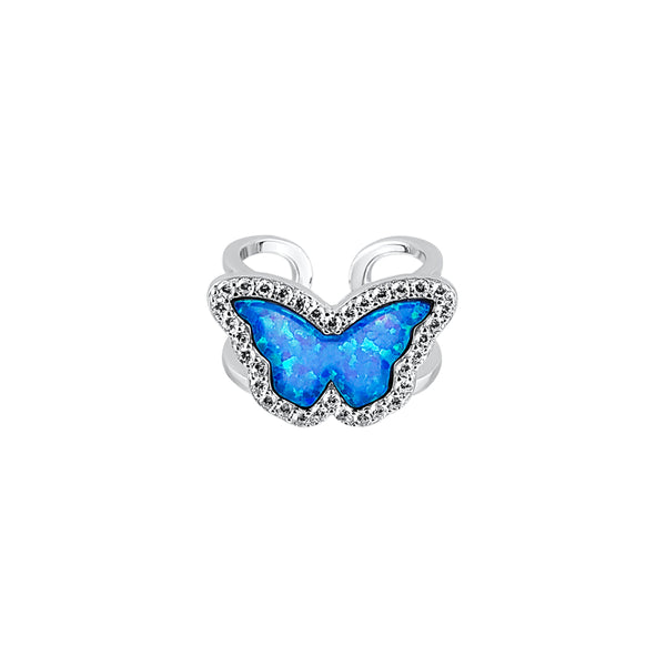 Sterling Silver Opal Blue Butterfly Double Band Ring - Mosaic Jewels