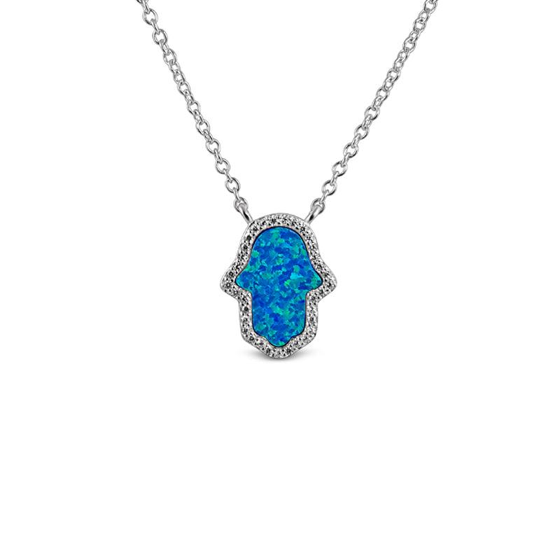 Sterling Silver Opal Blue Hamsa Necklace Rhodium Plated - Mosaic Jewels