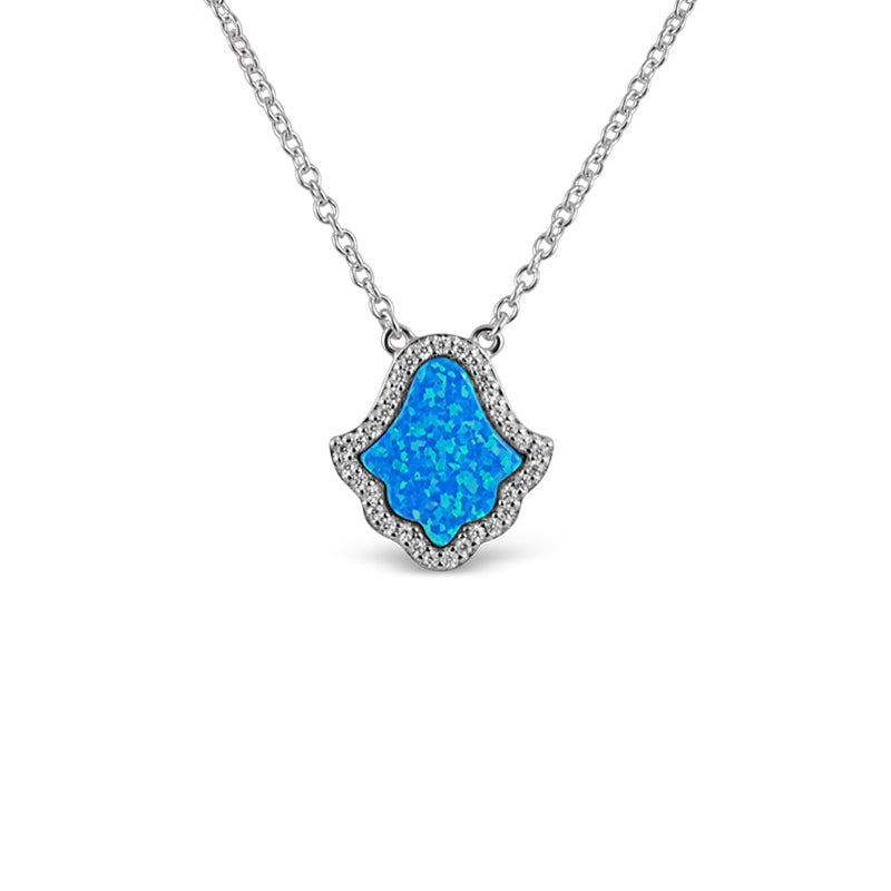 Sterling Silber Opal Blue Hamsa (Zara Collection) Halskette - Mosaik Juwelen