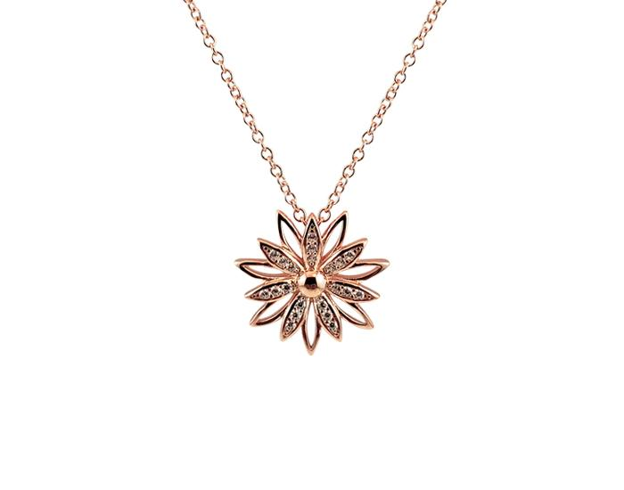 925 Silver Sunflower Necklace Rose Gold Plated - Mosaic Jewels