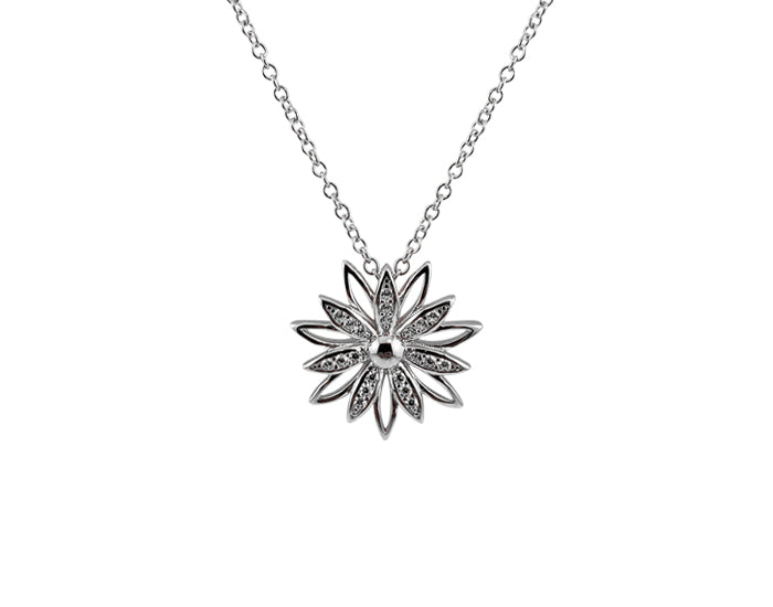 925 Silver Sunflower Necklace Rhodium Plated - Mosaic Jewels