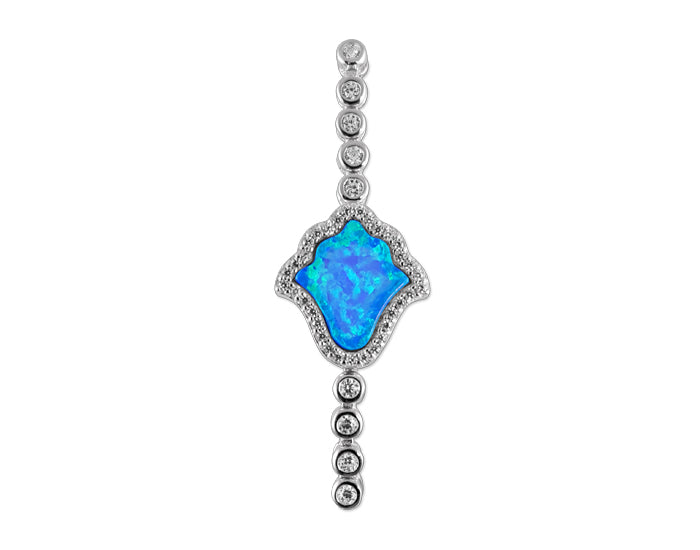 925 Silver Opal Blue Hamsa Bracelet Rhodium Plated - Mosaic Jewels