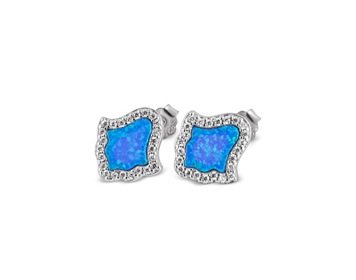 925 Silver Blue Opal Hamsa Earning Rhodium Plated - Mosaic Jewels