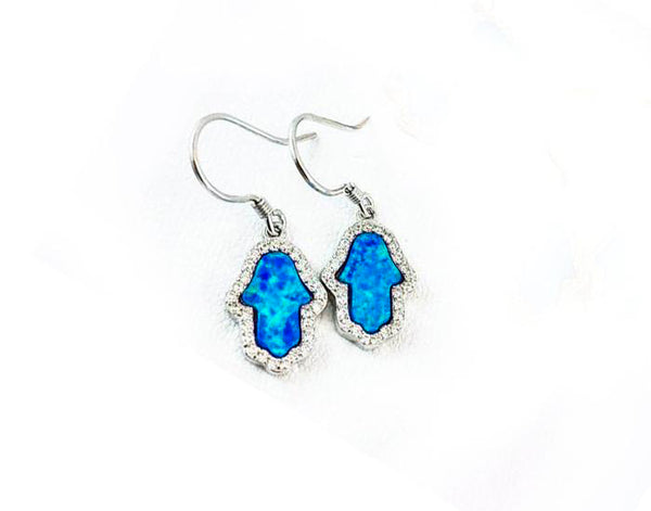 Sterling Silver Opal Blue Hamsa Dangles Earrings - Mosaic Jewels