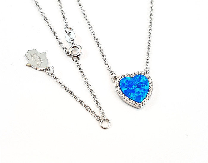Sterling Silver Opal Blue Heart Pendant Rhodium Plated - Mosaic Jewels
