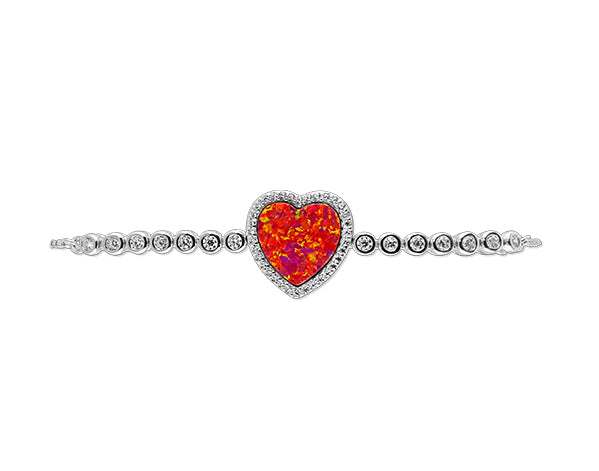 925 Silver Opal Red Heart Bracelet Rhodium Plated - Mosaic Jewels