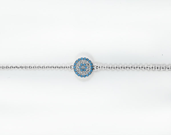 925 Silver Round Turquoise Evil Eye Bracelet Rhodium Plated - Mosaic Jewels