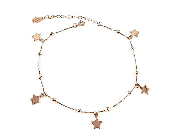 925 Sterling Silver Stars Anklet - 18K Gold Plated - Mosaic Jewels