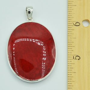 Double sided Red Coral and Abalone Sterling Silver Pendant