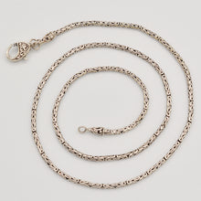 "Load image into Gallery viewer, Sterling Silver Handmade Byzantine Bali Chain - 24"" 2mm"