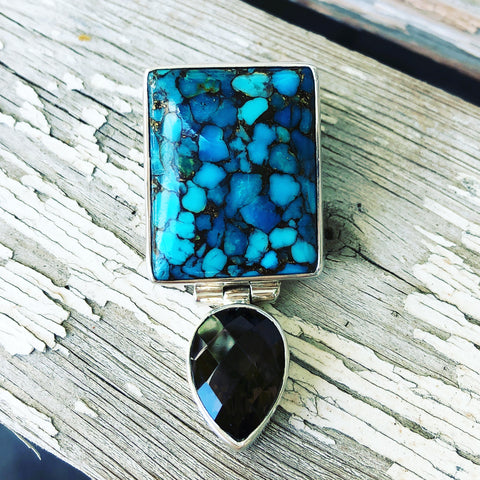 Turquoise and Smokey Topaz Sterling Silver Enhancer