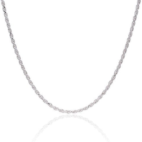 925 Sterling Silver 3.5MM Rope Chain - Nickel Free Italian Crafted Necklace for Women and Men 16 - 36""