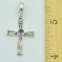 Load image into Gallery viewer, Amethyst and Sterling Silver Cross Pendant, Bali style about an inch long, 925 silver