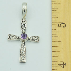Amethyst and Sterling Silver Cross Pendant, Bali style about an inch long, 925 silver