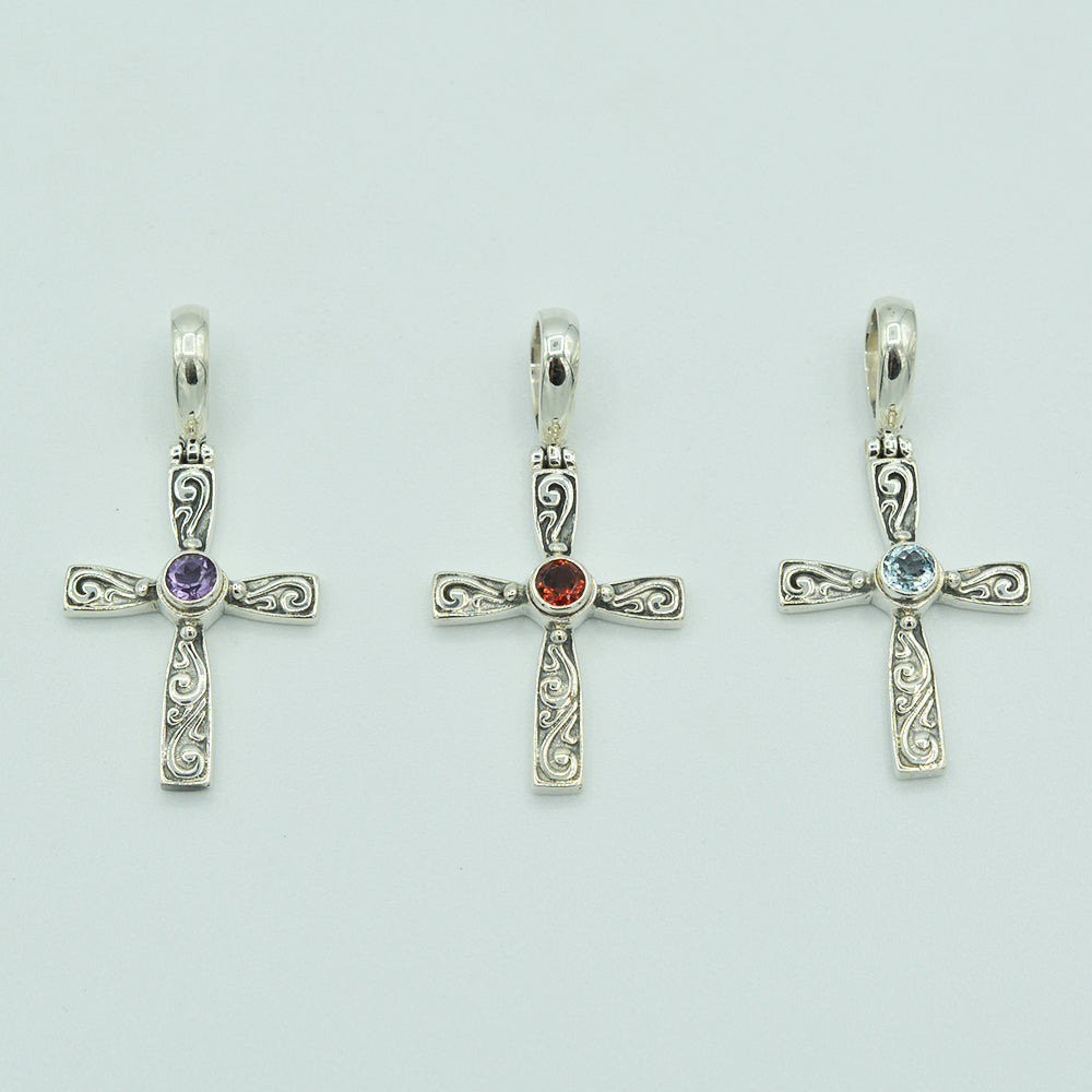 Blue Topaz and Sterling Silver Cross Pendant