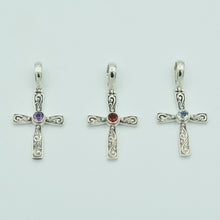 Load image into Gallery viewer, Blue Topaz and Sterling Silver Cross Pendant, Bali style about an inch long, 925 silver. Amethyst and garnet cross as well