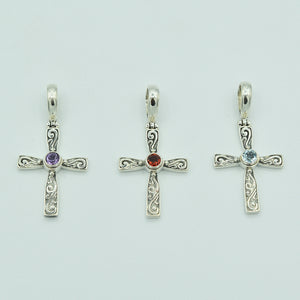 Blue Topaz and Sterling Silver Cross Pendant, Bali style about an inch long, 925 silver. Amethyst and garnet cross as well