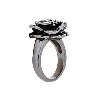 Designer Stainless Steel Rose Ring. Sizes 5-10. This ring will not tarnish or dent. There is a bracelet to match as well as rose flower earrings and rose flower pendants.