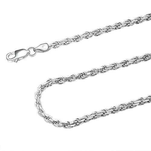 925 Sterling Silver 3MM Rope Chain - Nickel Free Italian Crafted Necklace for Women and Men 16 - 36""