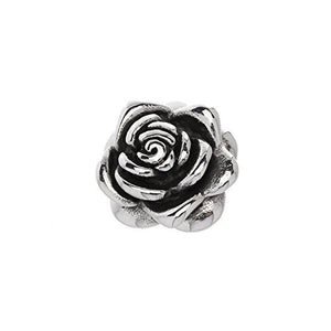 "Small stainless steel rose pendant, about 1"" long. Will not tarnish or dent."