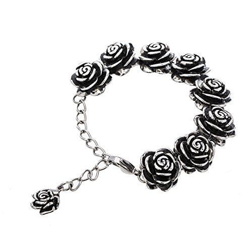 "Designer Stainless Steel Rose Bracelet For Women and Girls - 5"" with 3"" extender"