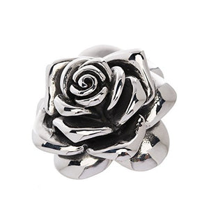 "Designer Stainless Steel Rose Pendant for Women and Girls - Large - Medium or Small. The large pendant is about 2 and 1/4"" long."