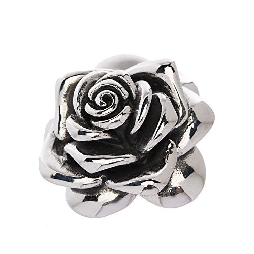 Designer Stainless Steel Rose Pendant for Women and Girls - Large - Medium or Small. The large pendant is about 2 and 1/4