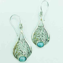 Load image into Gallery viewer, Larimar and Sterling Silver Earrings