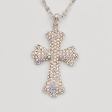 Load image into Gallery viewer, Swarovski Aurora Borealis Crystal Pave' Cross-Rhodium Plated