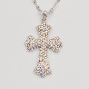 Swarovski Aurora Borealis Crystal Pave' Cross-Rhodium Plated