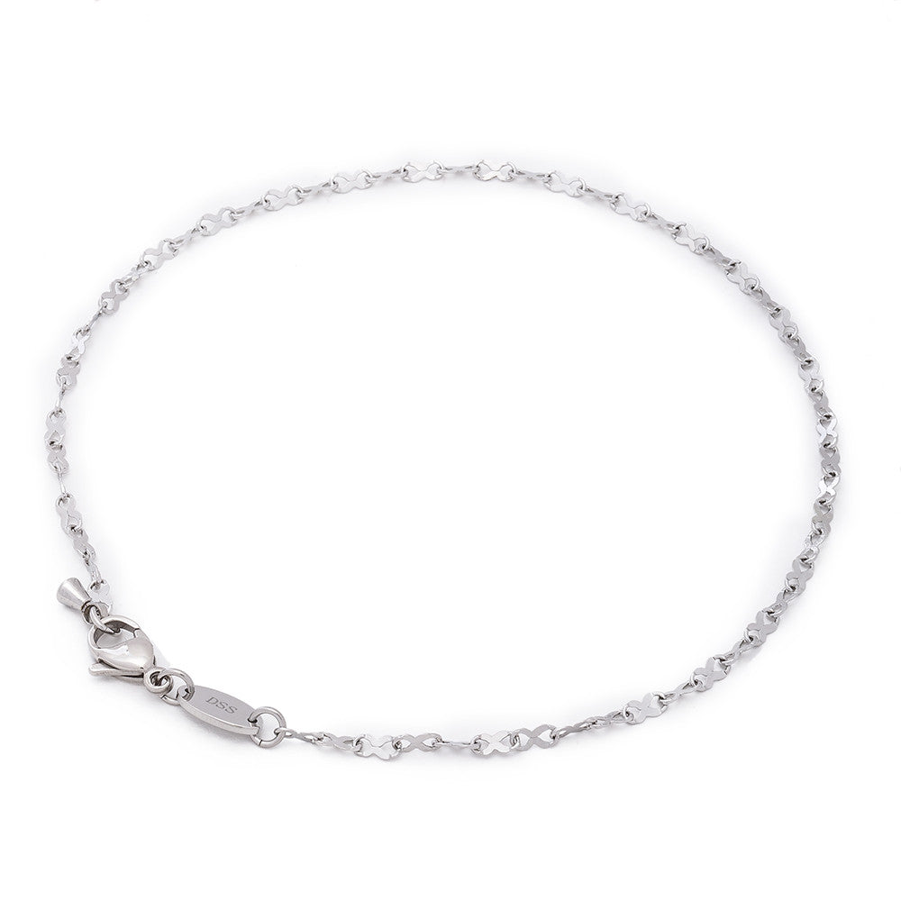 2MM Stainless Steel Infinity Ribbon Anklet