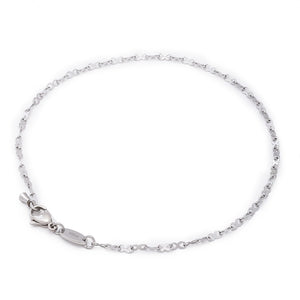 "2MM Stainless Steel Infinity Ribbon Anklet. anti tarnish. 9"", 10"", 11"". This is a strong chain and a comfortable anklet. Will not scratch or pull hair."